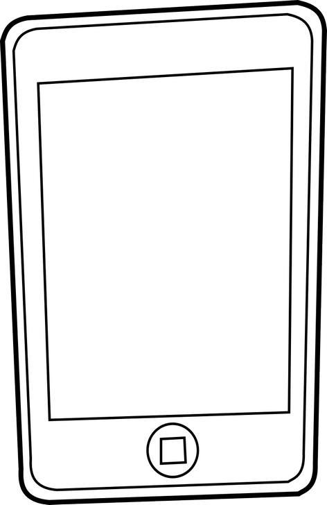 Omalovánka telefon k vytisknutí, obrázek ke stažení zdarma